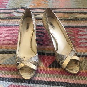 MIU MIU gold peep toe heels